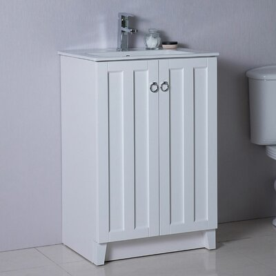 24 Single Bathroom Vanity Set Base Finish: White