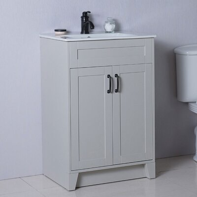 24 Single Bathroom Vanity Set Base Finish: Light Gray