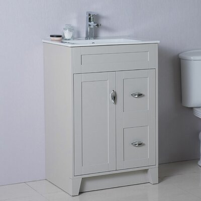 24 Single Bathroom Vanity Set Base Finish: Light Gray