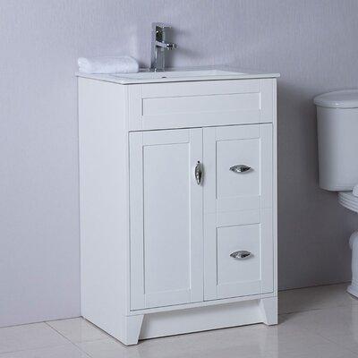 24 Single Bathroom Vanity Set Base Finish: White