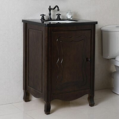 24 Single Bathroom Vanity Set Top Finish: Black