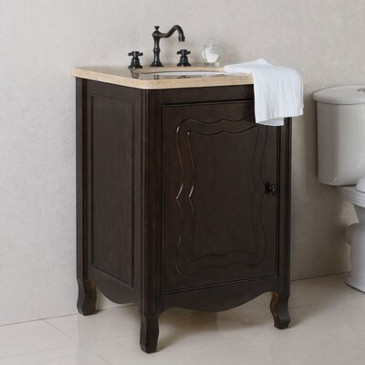 24 Single Bathroom Vanity Set Top Finish: Cream