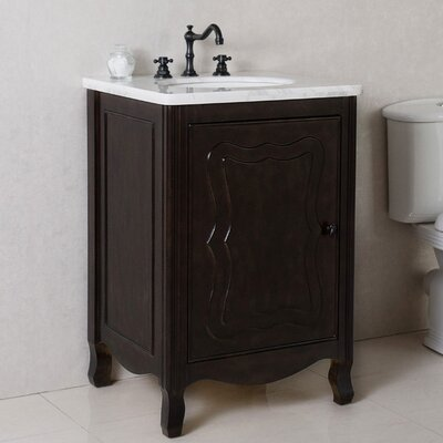 24 Single Bathroom Vanity Set Top Finish: White