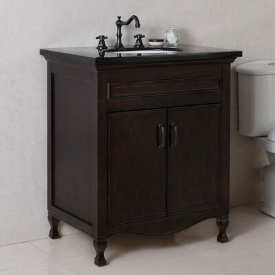 30 Single Bathroom Vanity Set Top Finish: Black