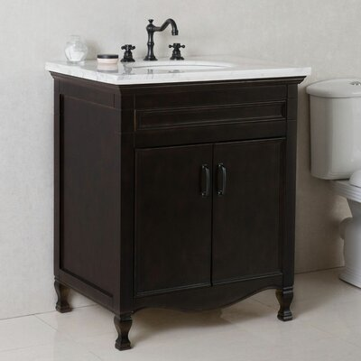 30 Single Bathroom Vanity Set Top Finish: White