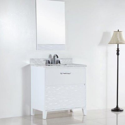 30.4 Single Sink Bathroom Vanity Set Top Finish: White Carrara