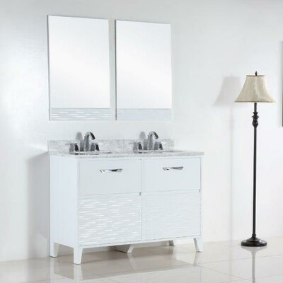 48 Double Bathroom Vanity Set Top Finish: White Carrara
