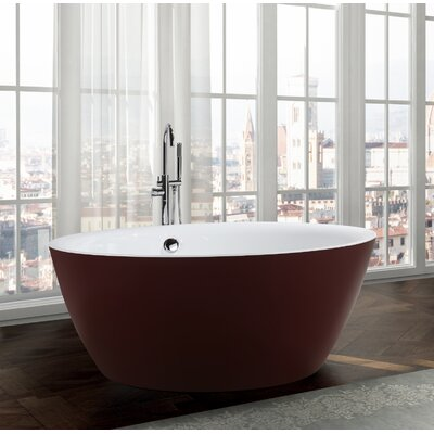 Pescara 59.1 x 59.1 Freestanding Soaking Bathtub Color: Glossy Red