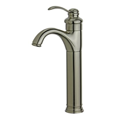 Madrid Single Hole Single Handle Bathroom Faucet with Drain Assembly Finish: Brushed Nickel