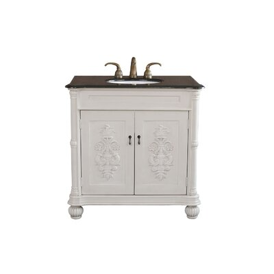 Carlisle 36 Single Bathroom Vanity Set Base Finish: Antique White, Top Finish: Black Galaxy Granite