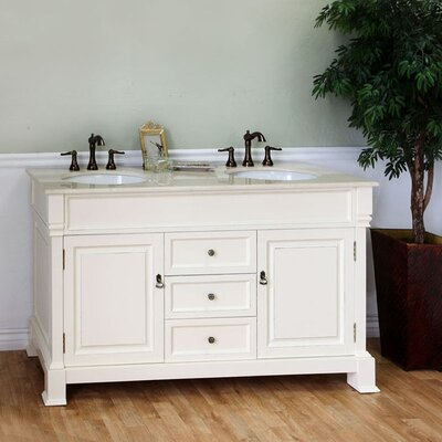 Halliday 60 Double Bathroom Vanity Set Base Finish: Cream White