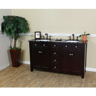 Delaney 62 Double Bathroom Vanity Set Base Finish: Dark Mahongany
