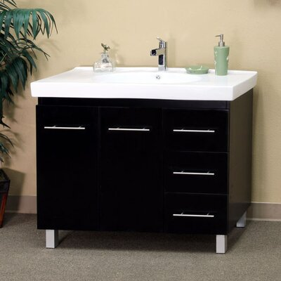 Payne 39 Single Bathroom Vanity Set Base Finish: Medium Walnut, Orientation: Drawers on Right