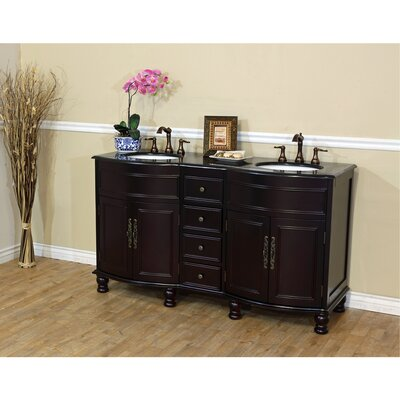 Barrington 62 Double Bathroom Vanity Set Top Finish: Black Galaxy, Base Finish: Dark Mahogany