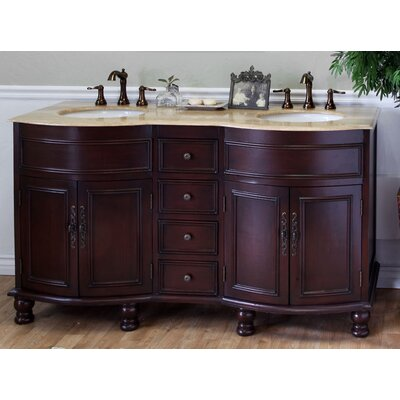 Barrington 62 Double Bathroom Vanity Set Base Finish: Light Walnut, Top Finish: Travertine