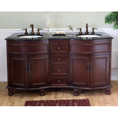 Barrington 62 Double Bathroom Vanity Set Base Finish: Colonial Cherry, Top Finish: Black Galaxy