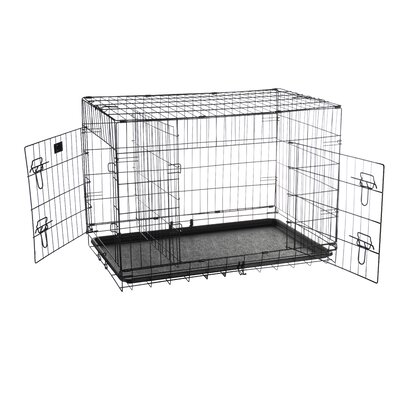 Folding Pet Crate Kennel Wire Cage Size: 22 H x 25.5 W x 35 L
