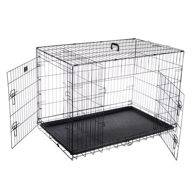 Folding Pet Crate Kennel Wire Cage Size: 26.75 H x 29.5 W x 42 L