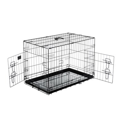 Folding Pet Crate Kennel Wire Cage Size: 17.5 H x 21 W x 29.5 L