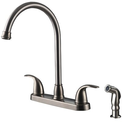 Touch Double Handle Kitchen Faucet with Side Spray Finish: Stainless Steel