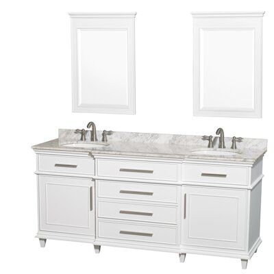 Berkeley 72 Double White Bathroom Vanity Set with Mirrors Top Finish: White Carrera Marble