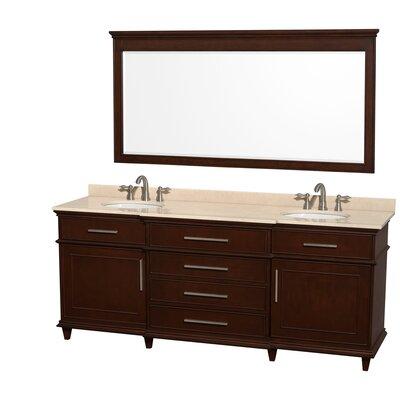 Berkeley 80 Double Dark Chestnut Bathroom Vanity Set with Mirror Top Finish: Ivory Marble