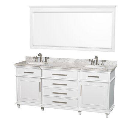 Berkeley 72 Double White Bathroom Vanity Set with Mirror Top Finish: White Carrera Marble