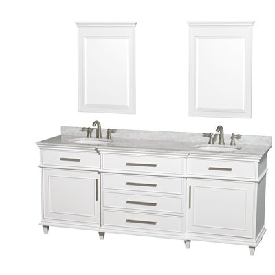 Berkeley Double Vanity Set Top Finish: White Carrera, Base Finish: White