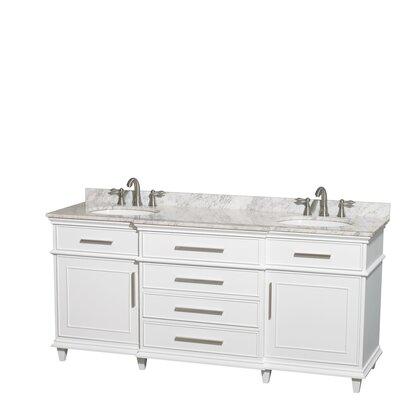 Berkeley 72 Double Bathroom Vanity Base Finish: White, Top Finish: White Carrera