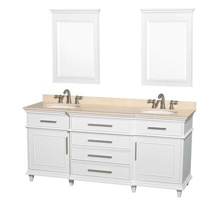 Berkeley 72 Double White Bathroom Vanity Set with Mirrors Top Finish: Ivory Marble