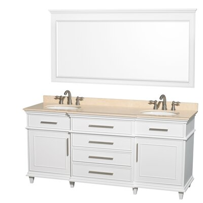 Berkeley 72 Double White Bathroom Vanity Set with Mirror Top Finish: Ivory Marble
