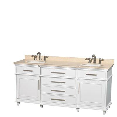 Berkeley 72 Double Bathroom Vanity Base Finish: White, Top Finish: Ivory