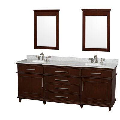 Berkeley Double Vanity Set Base Finish: Dark Chestnut, Top Finish: White Carrera