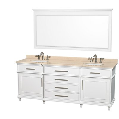 Berkeley 80 Double White Bathroom Vanity Set with Mirror Top Finish: Ivory Marble