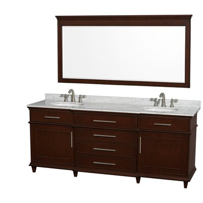 Berkeley 80 Double Dark Chestnut Bathroom Vanity Set with Mirror Top Finish: White Carrera Marble
