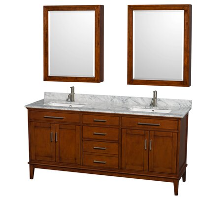 Hatton 72 Double Light Chestnut Bathroom Vanity Set with Medicine Cabinet Top Finish: White Carrera Marble, Faucet Mount: Single Hole