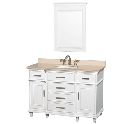 Berkeley 48 Single White Bathroom Vanity Set with Mirror Top Finish: Ivory Marble