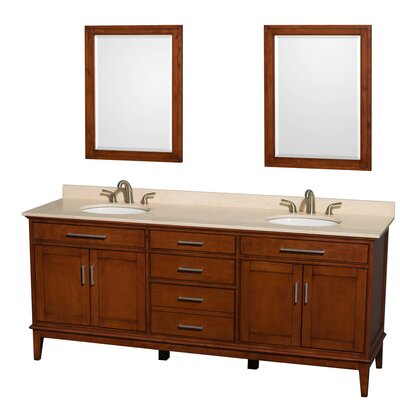 Hatton 80 Double Light Chestnut Bathroom Vanity Set with Mirror Top Finish: Ivory Marble, Faucet Mount: 8 Centers