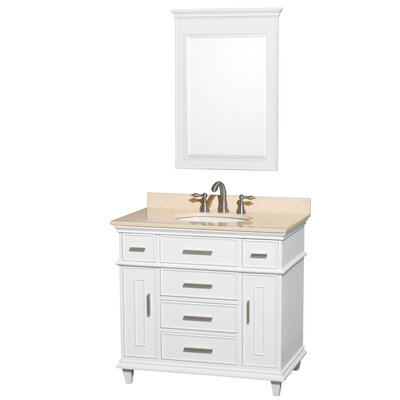 Berkeley 36 Single White Bathroom Vanity Set with Mirror Top Finish: Ivory Marble