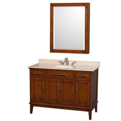 Hatton 48 Single Light Chestnut Bathroom Vanity Set with Medicine Cabinet Top Finish: Ivory Marble, Faucet Mount: 8 Centers
