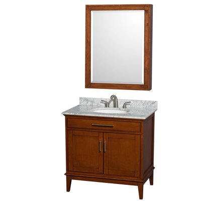 Hatton 36 Single Light Chestnut Bathroom Vanity Set with Medicine Cabinet Top Finish: White Carrera Marble, Faucet Mount: 8 Centers