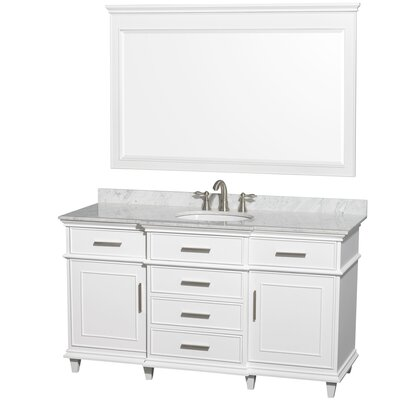 Berkeley 60 Single White Bathroom Vanity Set with Mirror Top Finish: White Carrera Marble
