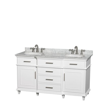 Berkeley 60 Double Bathroom Vanity Set Base Finish: White, Top Finish: White Carrera