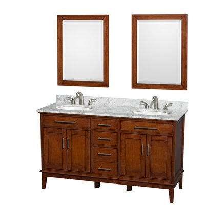 Hatton 60 Double Light Chestnut Bathroom Vanity Set with Mirror Top Finish: White Carrera Marble, Faucet Mount: 8 Centers