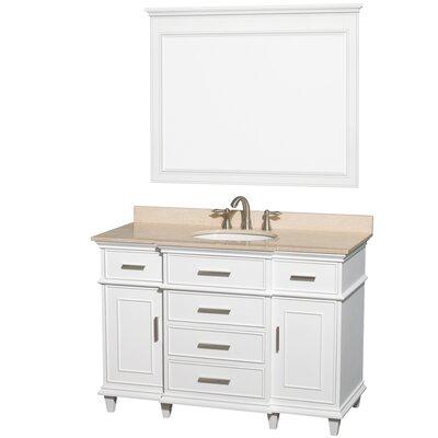 Berkeley 48 Single White Bathroom Vanity Set with Mirror Top Finish: Ivory Marble