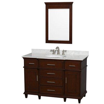 Berkeley 48 Single Dark Chestnut Bathroom Vanity Set with Mirror Top Finish: White Carrera Marble