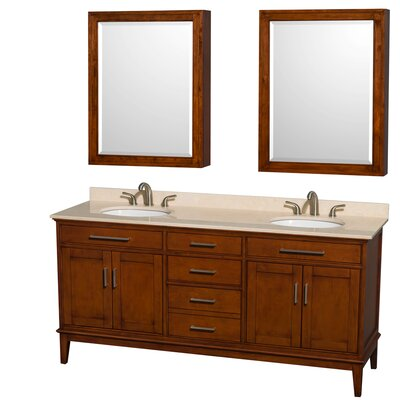 Hatton 72 Double Light Chestnut Bathroom Vanity Set with Medicine Cabinet Top Finish: Ivory Marble, Faucet Mount: 8 Centers