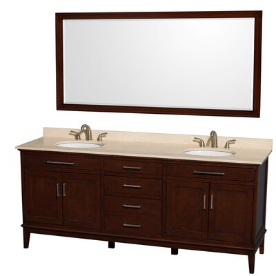Hatton 80 Double Dark Chestnut Bathroom Vanity Set with Mirror Top Finish: Ivory Marble, Faucet Mount: 8 Centers