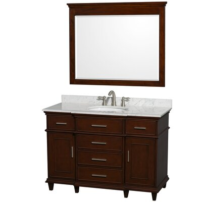 Berkeley 48 Single Dark Chestnut Bathroom Vanity Set with Mirror Top Finish: White Carrera Marble