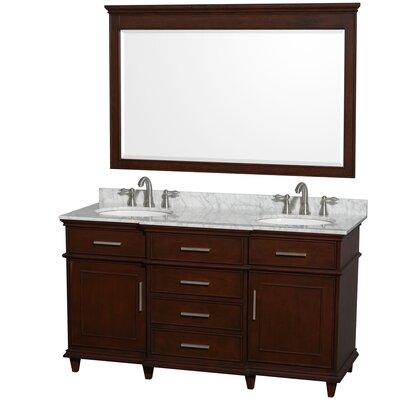 Berkeley 60 Double Dark Chestnut Bathroom Vanity Set with Mirror Top Finish: White Carrera Marble